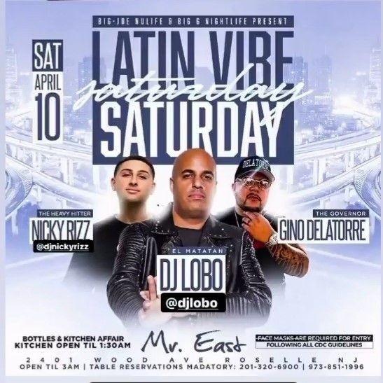 Flyer for Latin Vibe Fridays DJ Lobo Live At Mister East