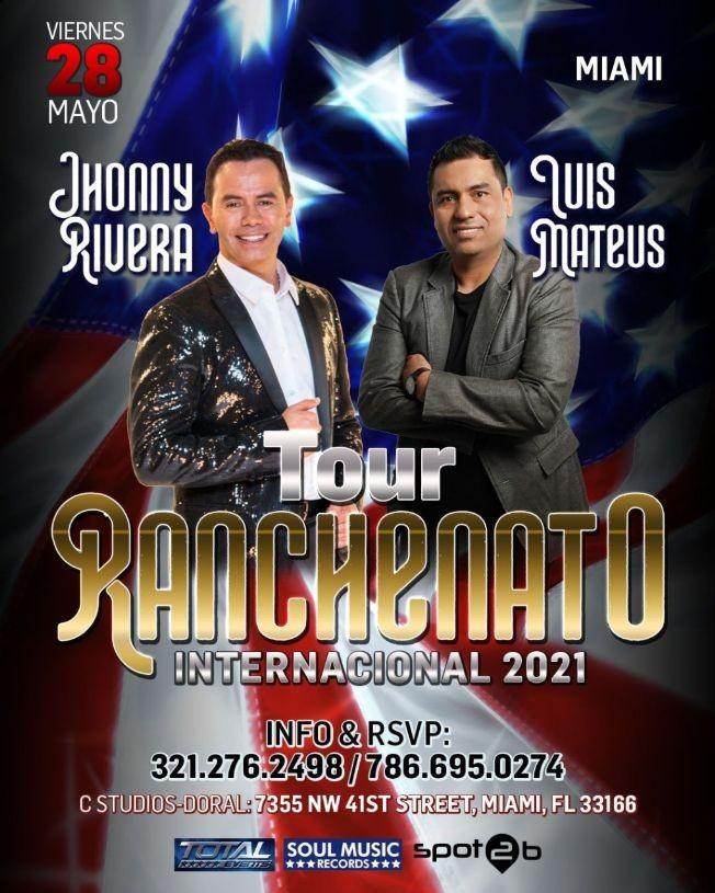 Flyer for JHONNY RIVERA vs LUIS MATEUS RANCHENATO 2021 MIAMI