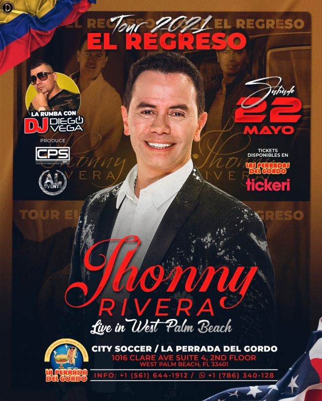 Flyer for JHONNY RIVERA EN WEST PALM BEACH