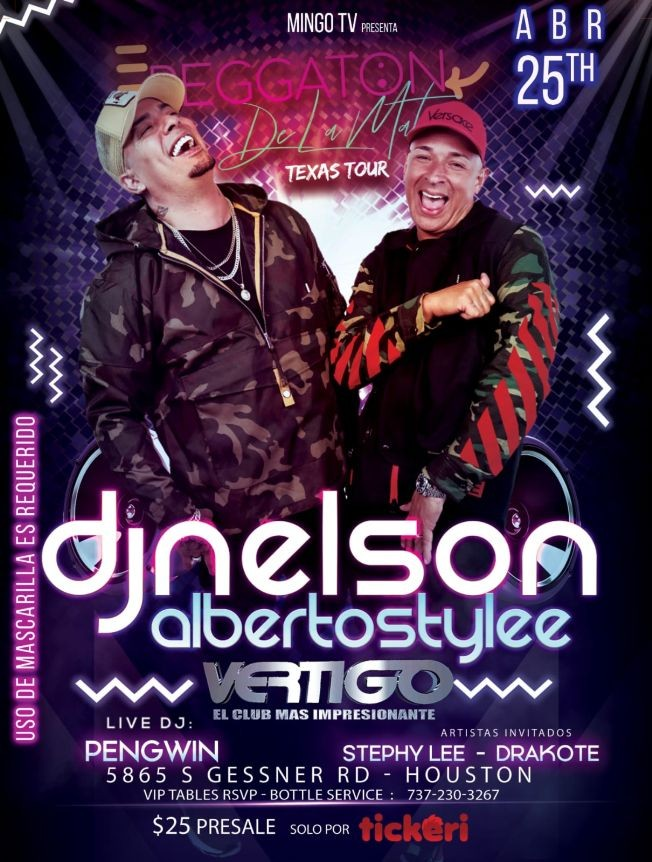 Flyer for DJ Nelson Y Alberto Style Reggaeton De La Mata Texas Tour - HOUSTON