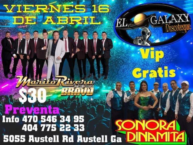 Flyer for Marito Rivera y su Grupo Bravo y La Sonora Dinamita en Vivo!