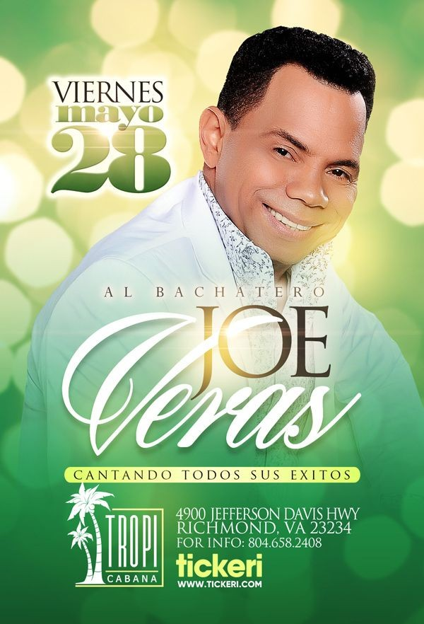 Flyer for Joe Veras en Concierto en Tropi Cabana!