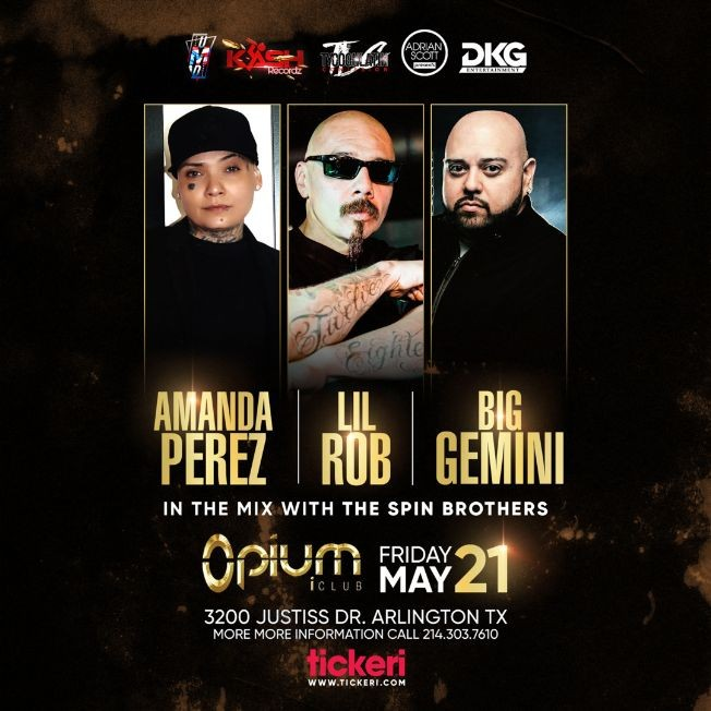 Flyer for Amanda Perez, Lil Rob and Big Gemini en Vivo!