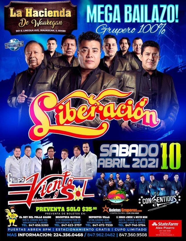 Flyer for Mega Bailazo Grupero con Liberacion y Grupo Viento y Sol en Vivo!