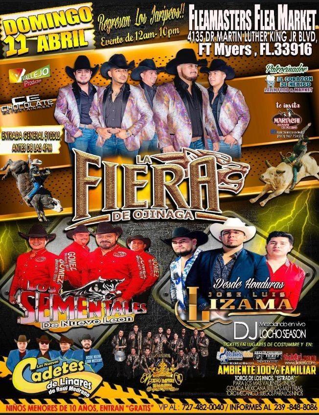 Flyer for La Fiera de Ojinaga, Los Sementales de Nuevo Leon, Los Nuevos Cadetes de Linares, Jose Luis Lizama y Mas!