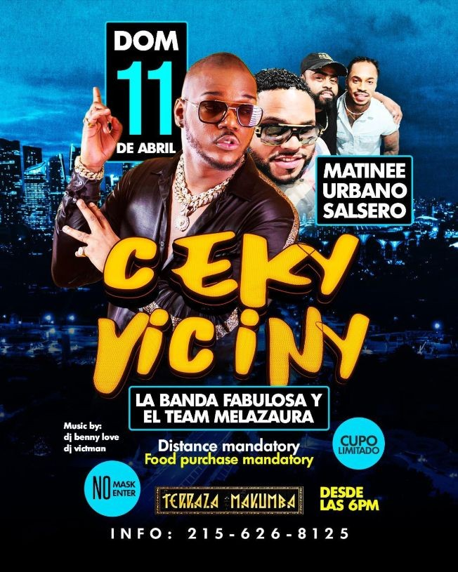 Flyer for Matinee Urbano Salsero con Ceky Viciny en Vivo!