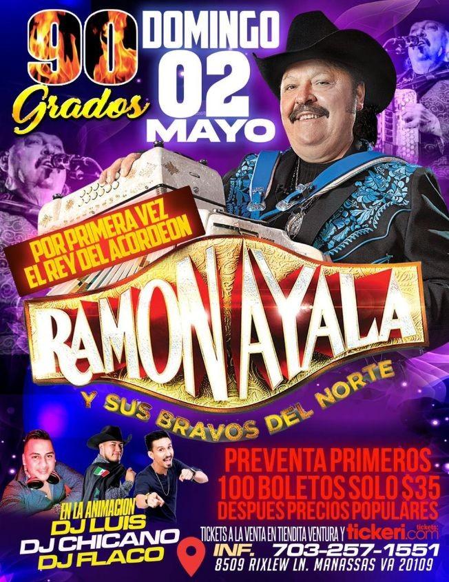 Flyer for Ramon Ayala y Sus Bravos del Norte en Vivo!