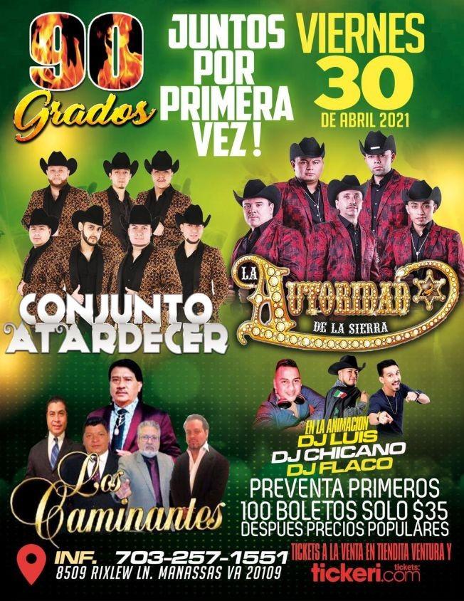 Flyer for Conjunto Atardecer, La Autoridad de la Sierra y Los Caminantes en Vivo!