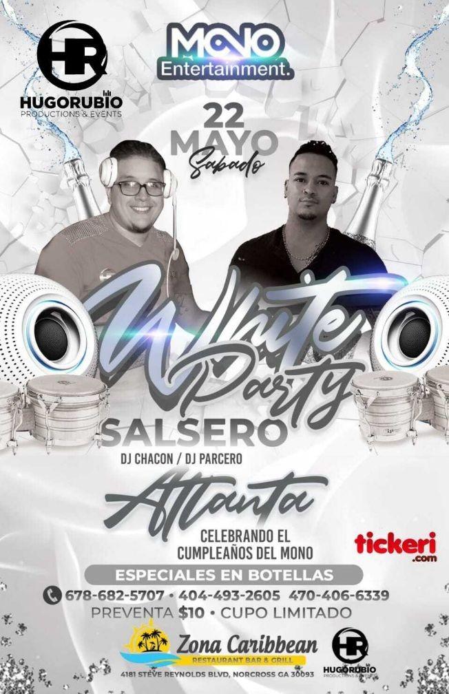 Flyer for White Party Salsero con DJ Chacon y DJ Parcero!