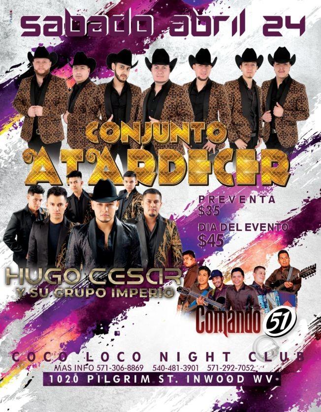 Flyer for Conjunto Atardecer, Hugo Cesar y Comando 51 en Vivo!