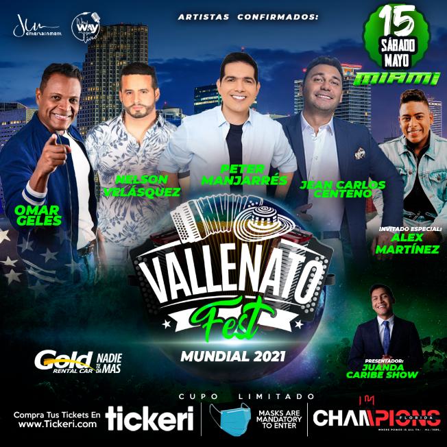 Flyer for Vallenato Fest USA 2021 MIAMI - con Peter Manjarres, Jean Carlos Centeno, Omar Geles, Nelson Velásquez