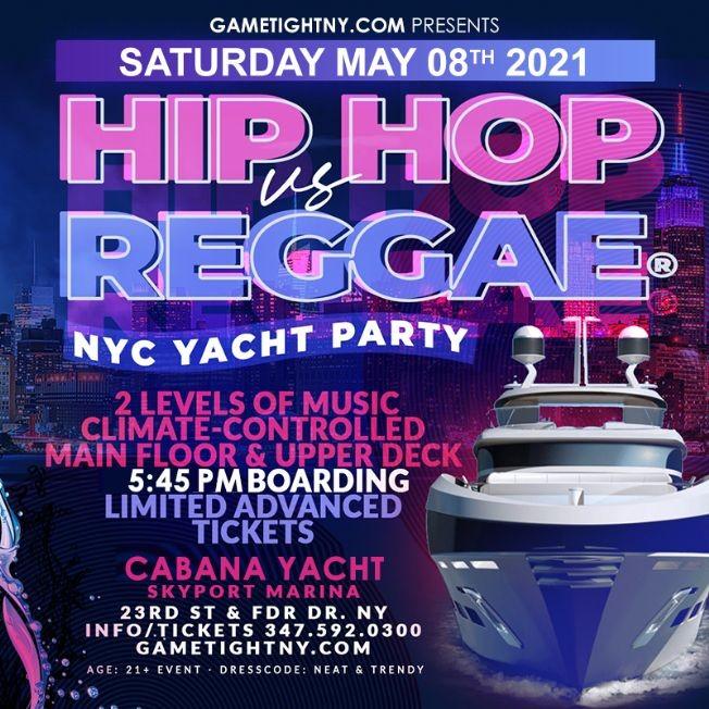 Flyer for Hip Hop vs Reggae® NYC Sunset Cruise Skyport Marina Cabana Yacht