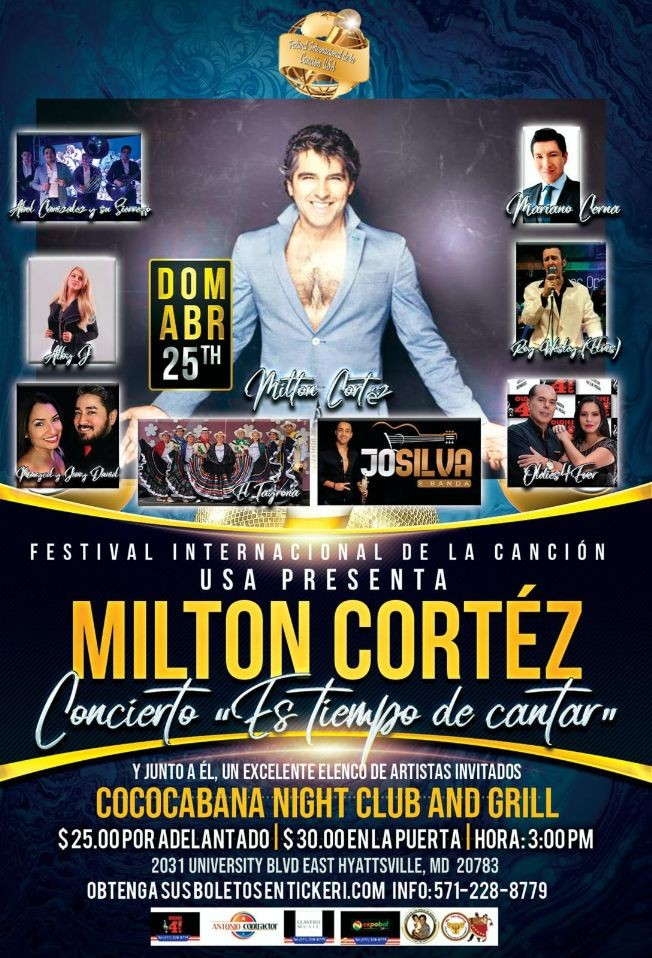 Flyer for Milton Cortez en concierto