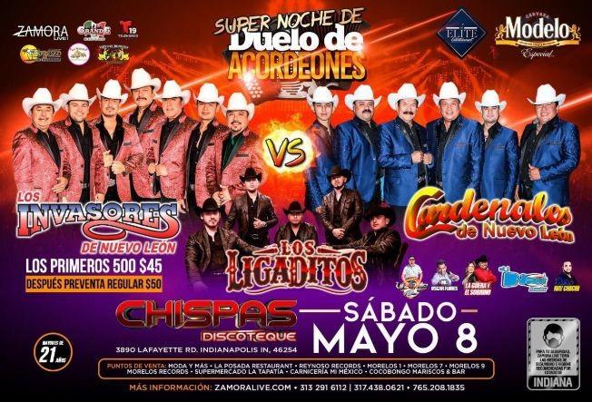 Flyer for Los Invasores de Nuevo Leon, Cardenales de Nuevo Leon y Los Ligaditos enVivo!