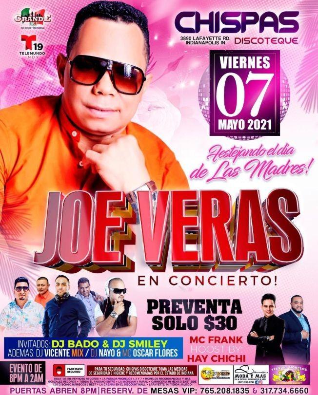 Flyer for Festejando el Dia de las Madres: Joe Veras en Concierto!