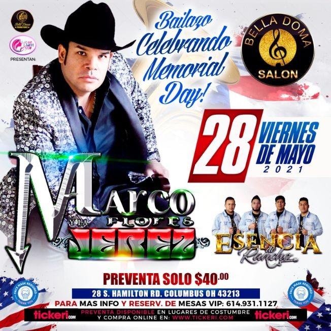 Flyer for Bailazo Celebrando Memorial Day con Marco Flores & la Jerez y Esencia de Rancho en Vivo!