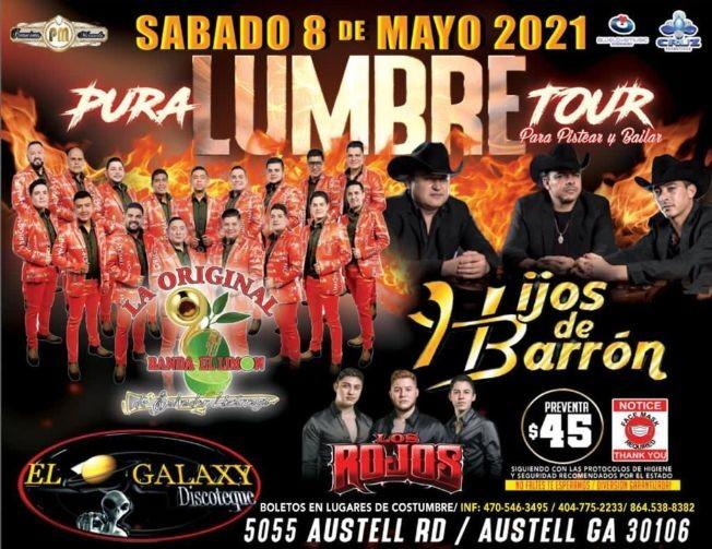 Flyer for La Original Banda Limon, Hijos de Barron y Los Rojos en Vivo! Pura Lumbre Tour