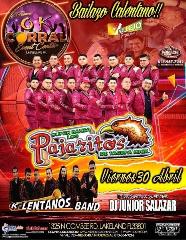 Flyer for Bailazo Calentano con Los Pajaritos de Tacupa Michoacan y K-Lentanos Band en Vivo!