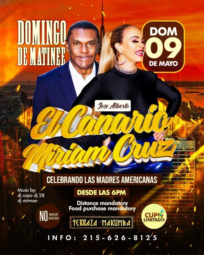 Flyer for Domingo de Matinee con Jose Alberto El Canario y Miriam Cruz en Concierto!