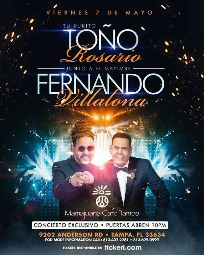 Flyer for Tono Rosario y Fernandito Villalona live at Mamajuana Café Tampa