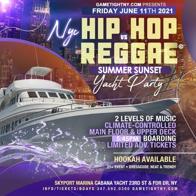 Flyer for NYC Summer Sunset Cruise Hip Hop vs Reggae® Yacht Party Skyport Marina Cabana Yacht 2021