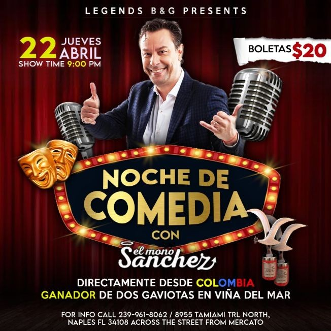 Flyer for Noche de comedia con el Mono Sánchez