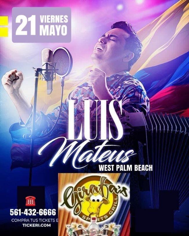 Flyer for LUIS MATEUS - VALLENATO Concierto en West Palm Beach