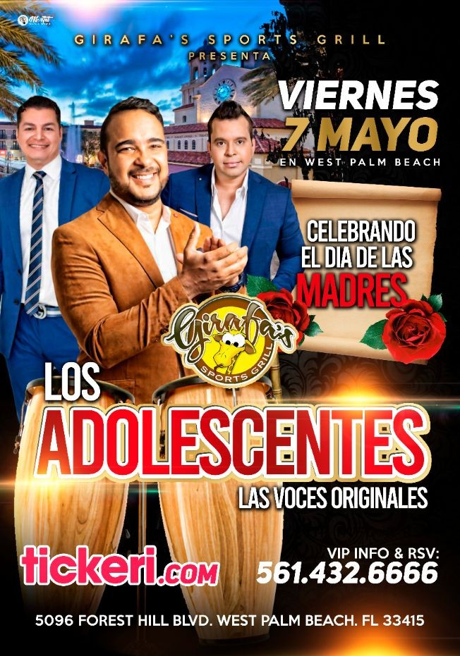 Flyer for Los Adolescentes (las Voces Originales) en West Palm Beach