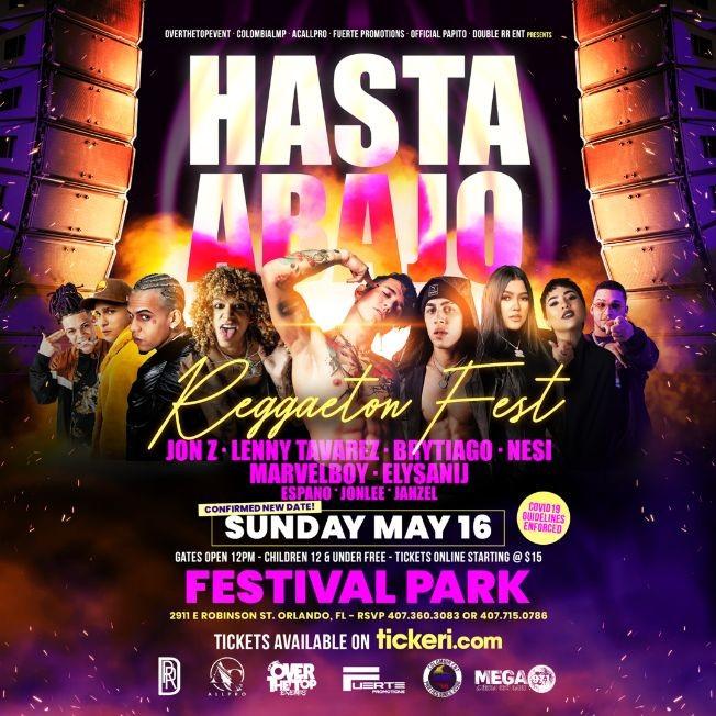 Flyer for Hasta Abajo Reggaeton Fest with JON Z, NESI, LENNY TAVAREZ, BRYTIAGO, MARVELBOY and more! NEW CONFIRMED DATE