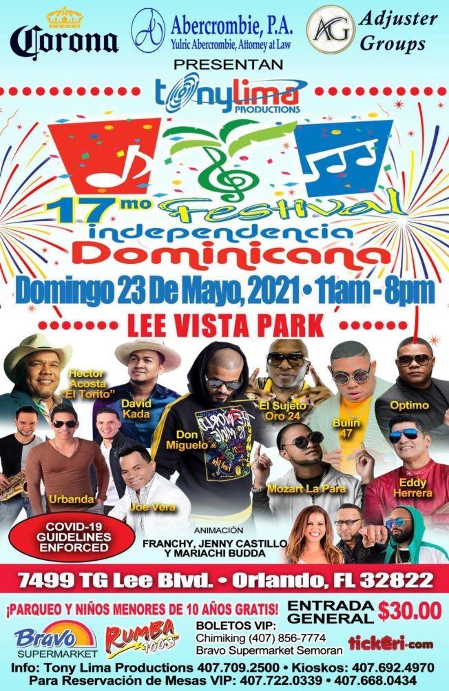 Flyer for 17mo Independencia Dominicana en Orlando