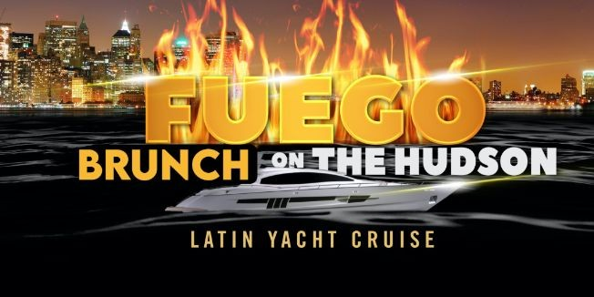 Flyer for #1 Official LATIN Sunset BRUNCH Party Yacht Cruise: Saturday Fiesta in NYC