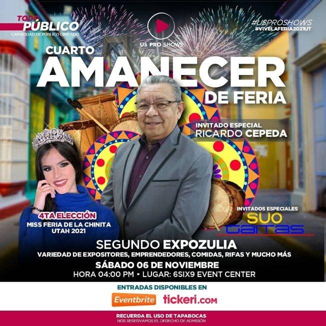 Flyer for Cuarto Amanecer de Feria con Ricardo Cepeda y muchos mas!
