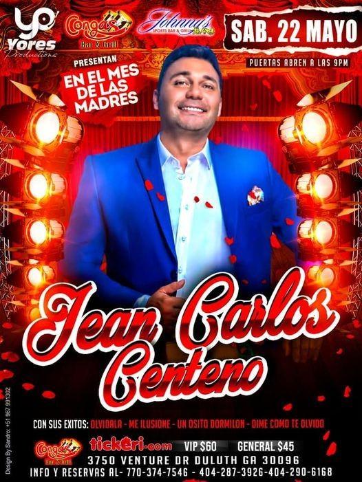 Flyer for Celebrando en el mes de las madres Jean Carlos Centeno en concierto