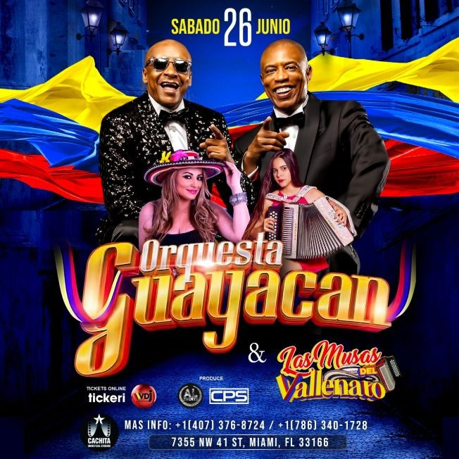 Flyer for Guayacan Orquesta & Las Musas Del Vallenato En Miami
