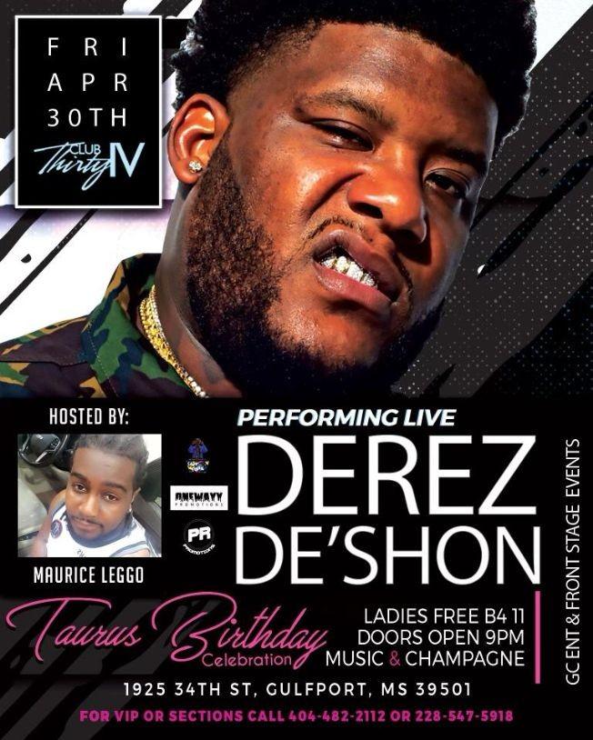 Flyer for Taurus Birthday Celebration with Derek DeShon live