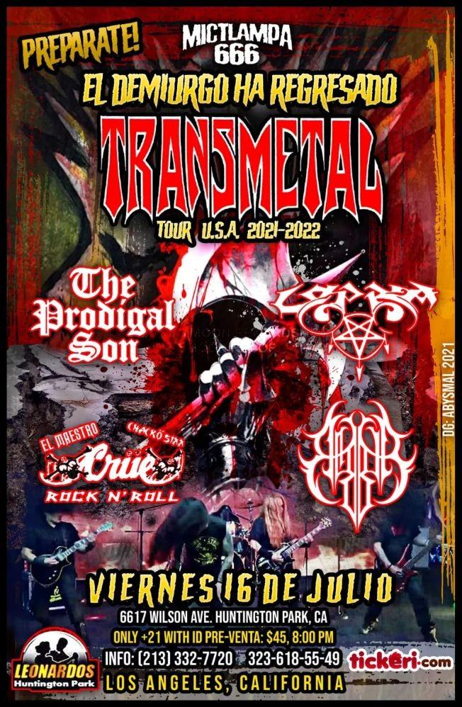 Flyer for Transmetal USA Tour 2021 En Huntington Park,CA