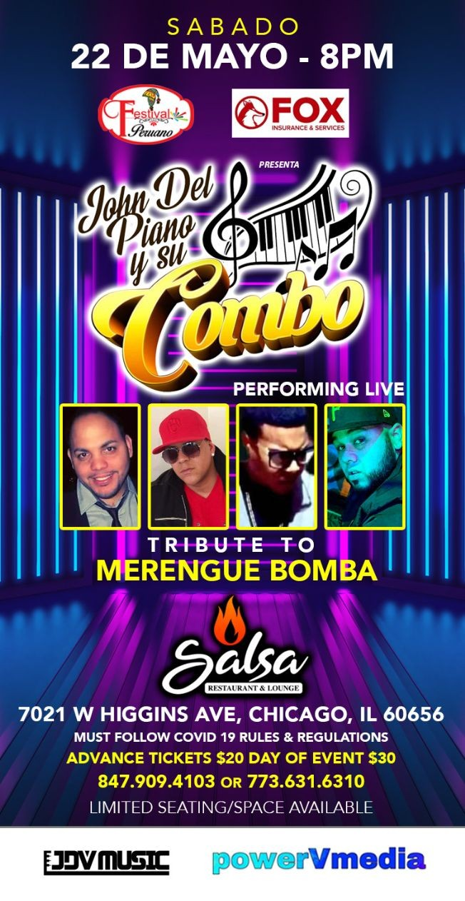Flyer for Tributo al Merengue Bomba con John del Piano y su Combo en Vivo!