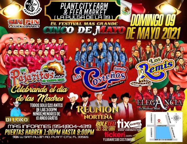 Flyer for Banda Los Costeños, Los Pajaritos de Tacupa, Elegancia de Huetamo y Los Remis en Vivo!