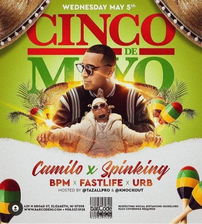 Flyer for Cinco De Mayo DJ Camilo Live At Barcode