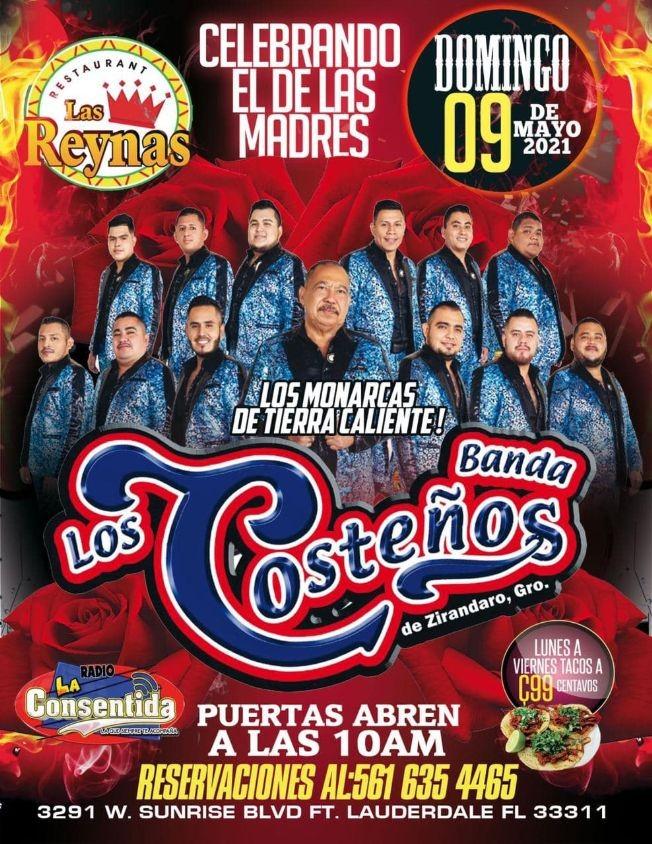 Flyer for Celebrando el Dia de las Madres llegan los Monarcas de Tierra Caliente: Banda Los Costeños en Vivo!