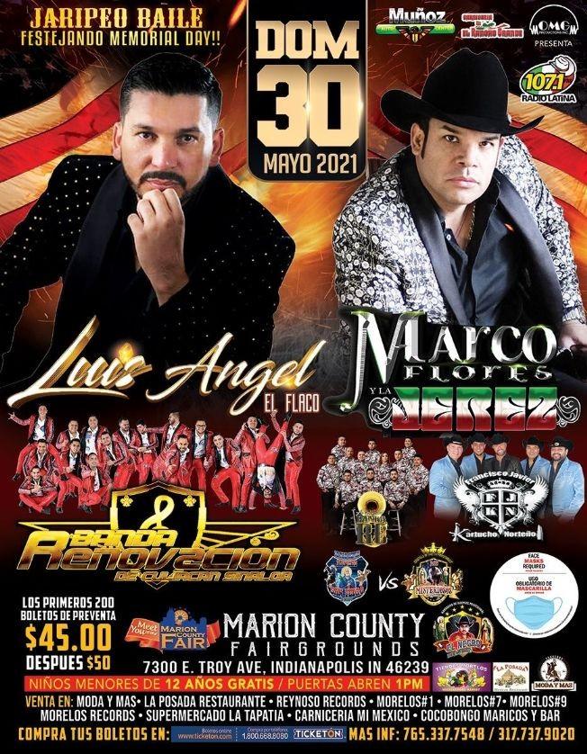 Flyer for Luis Angel El Flaco, Marco Flores y La Jerez, Banda Renovacion, Banda RC y Kartucho Norteño en Vivo!