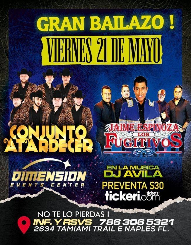 Flyer for Conjunto Atardecer y Jaime Espinoza & Los Fugitivos en Vivo!