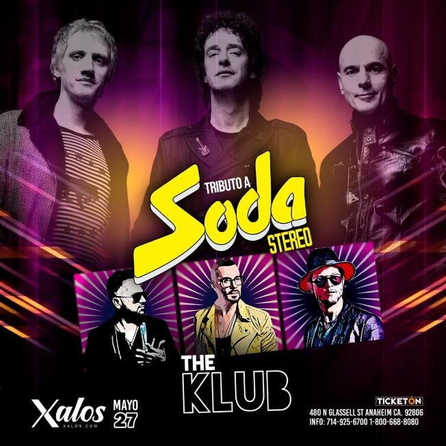 Flyer for Tributo a Soda Stereo en Anaheim CA