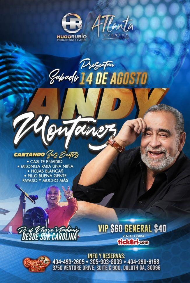 Flyer for Andy Montañez en Congas Bar & Grill CANCELED