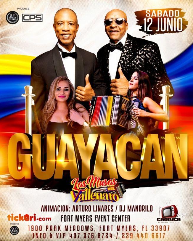 Flyer for ORQUESTA GUAYACAN Y LA MUSA DEL VALLENATO FORD MYERS, POSTPONED!!