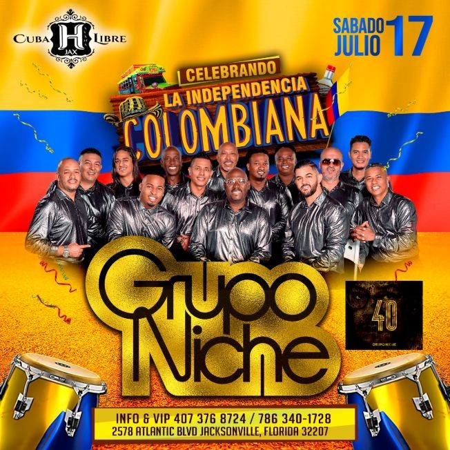Flyer for GRUPO NICHE VIP CELEBRANDO LA INDEPENDENCIA DE COLOMBIA