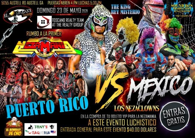 Flyer for Rumbo a la Primer Nezamania: Puerto Rico vs Mexico Lucha Libre!