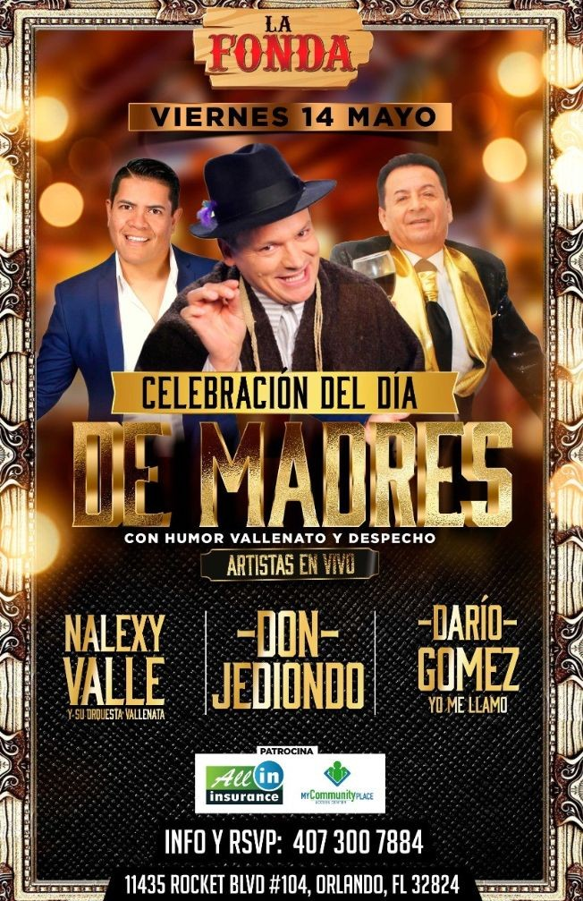 """Flyer for 2night """"Don jediondo-Dario Gomez (yo me llamo)-nalexy valle"""" en la fonda antiguo vara grill"""