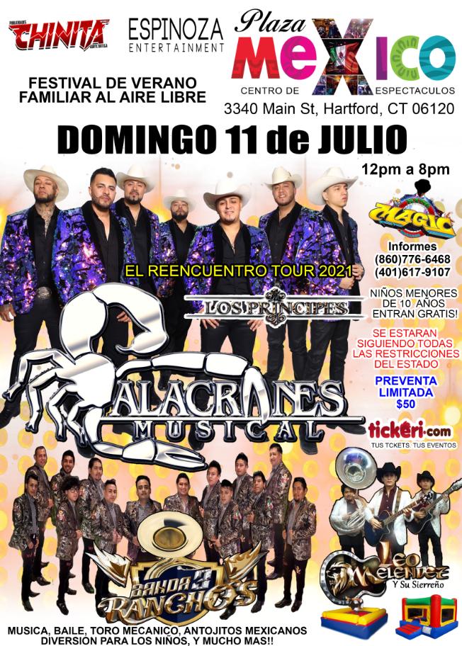 Flyer for Festival Familiar al Aire Libre con Alacranes Musical en Hartford, CT