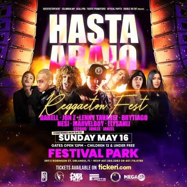Flyer for Hasta Abajo Reggaeton Fest with JON Z, NESI, LENNY TAVAREZ, BRYTIAGO, MARVELBOY and just added DARELL